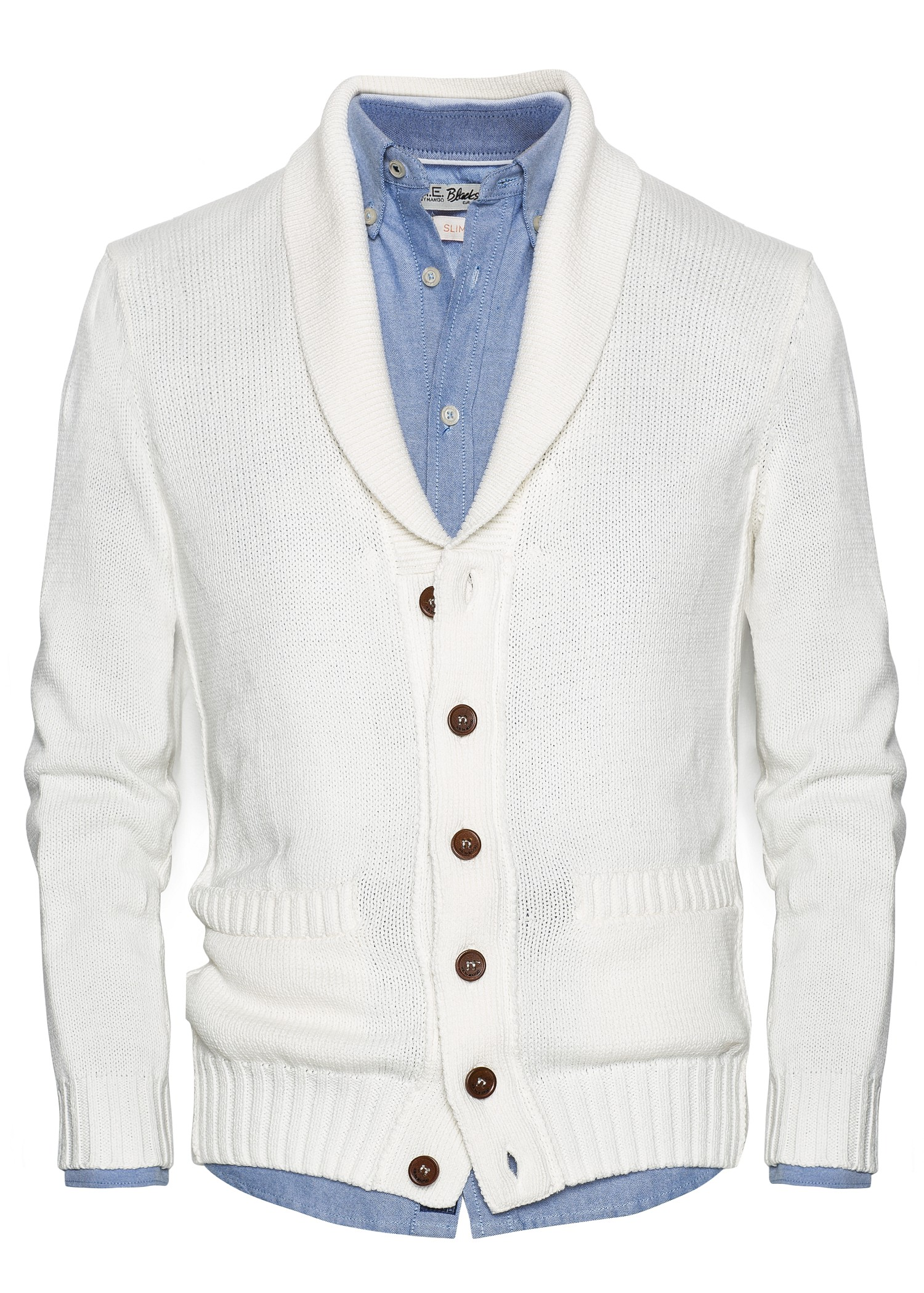 Mango Shawl Collar Cotton Cardigan in White for Men | Lyst