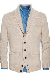 Mango Shawl Collar Cotton Cardigan - Lyst
