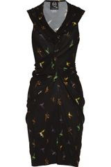 McQ by Alexander McQueen Draped Hummingbird Print Jersey Dress - Lyst