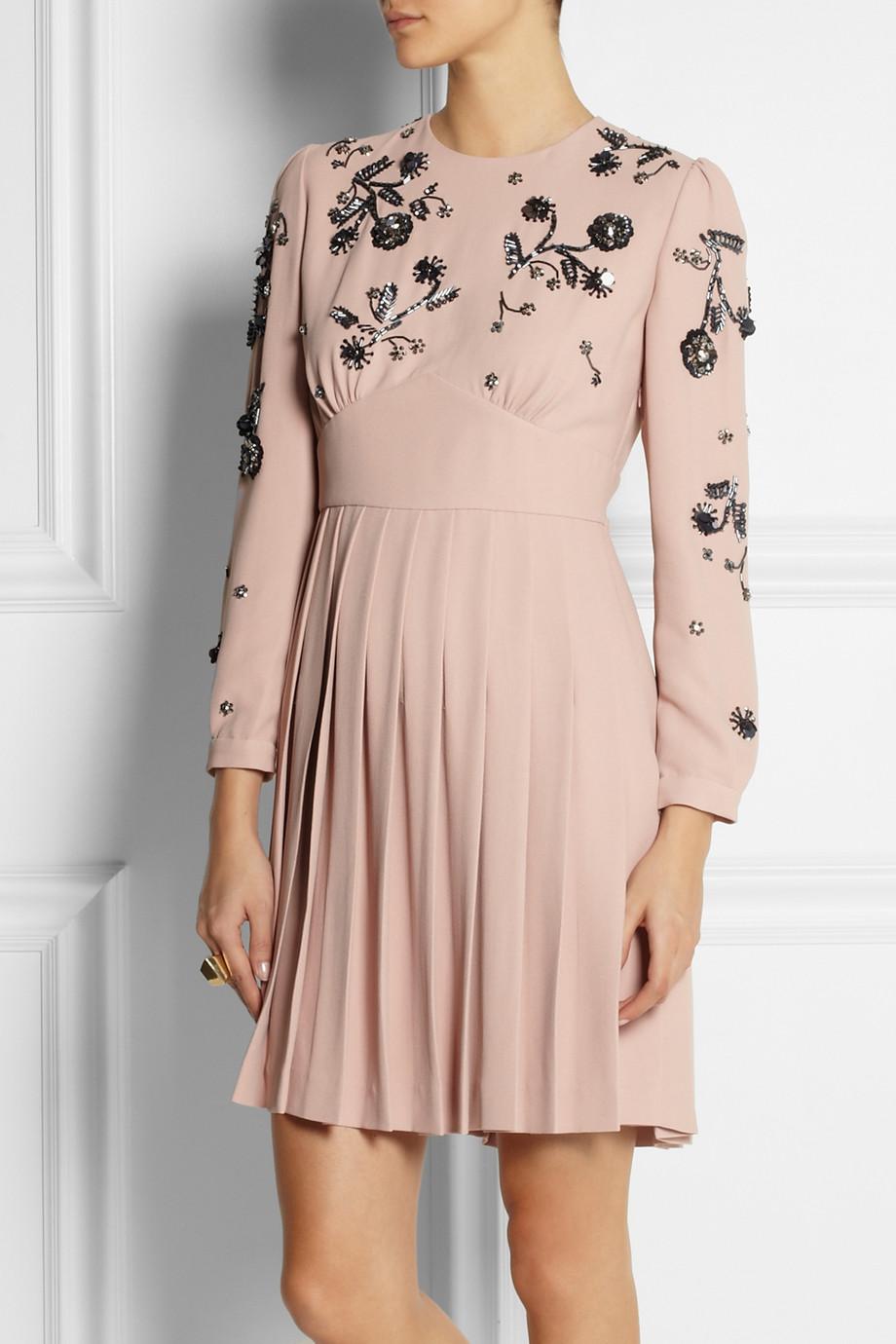 Lyst Miu Miu Embellished Cady Dress In Pink