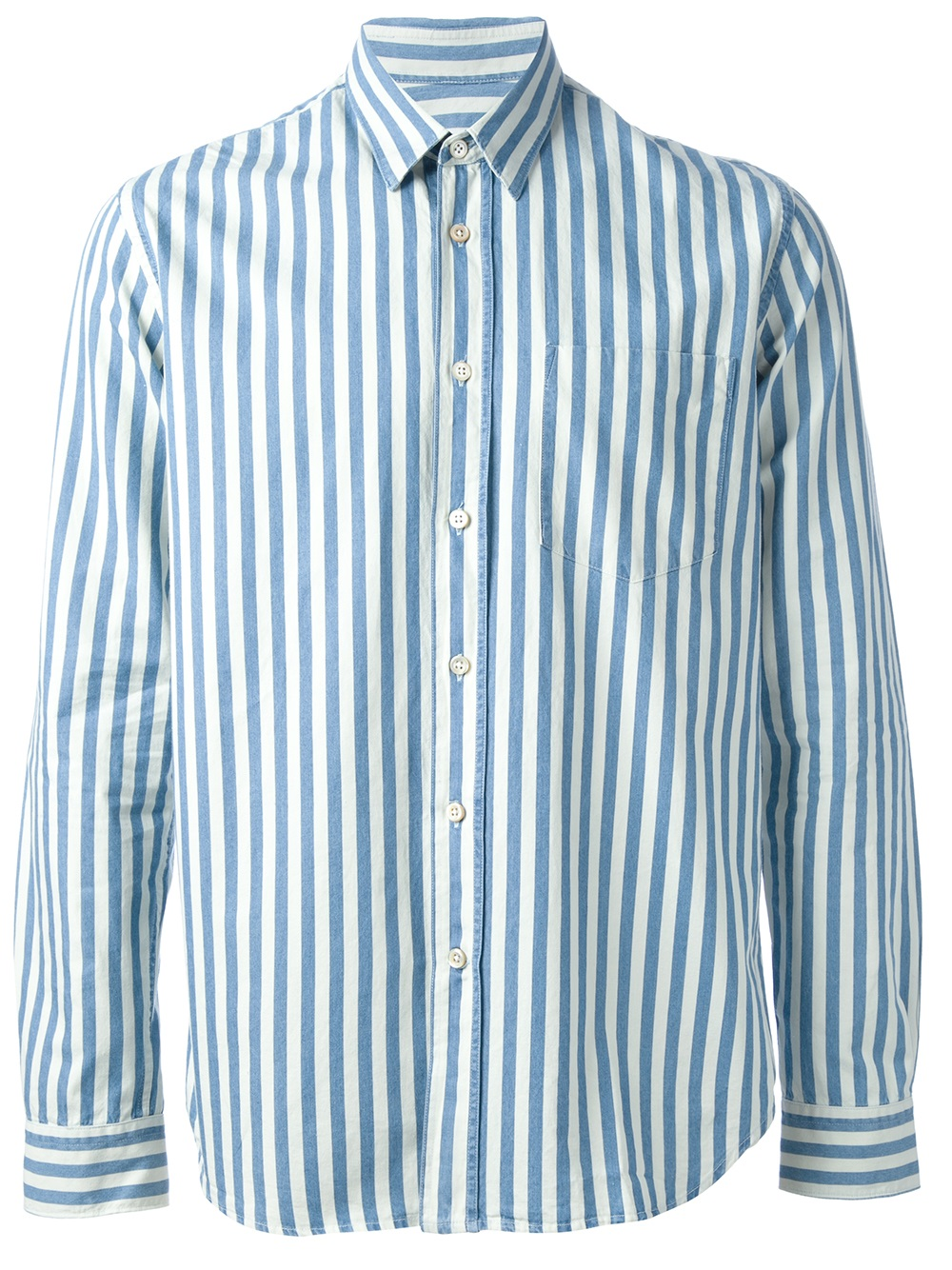Lyst our legacy striped shirt for men for Blue striped shirt mens
