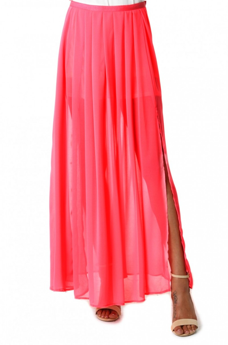 pleated chiffon maxi skirt in pink pink lyst