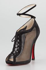 Christian Louboutin Abbesses Mesh Peeptoe Red Sole Bootie Black - Lyst