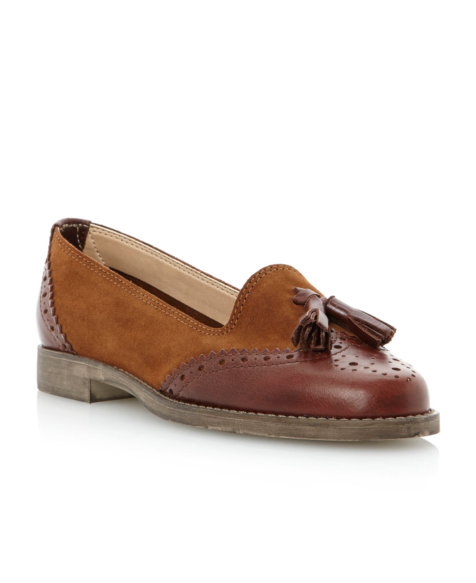 Dune Lazarus Mixed Material Tassel Loafer Shoes In Brown For Men | Lyst