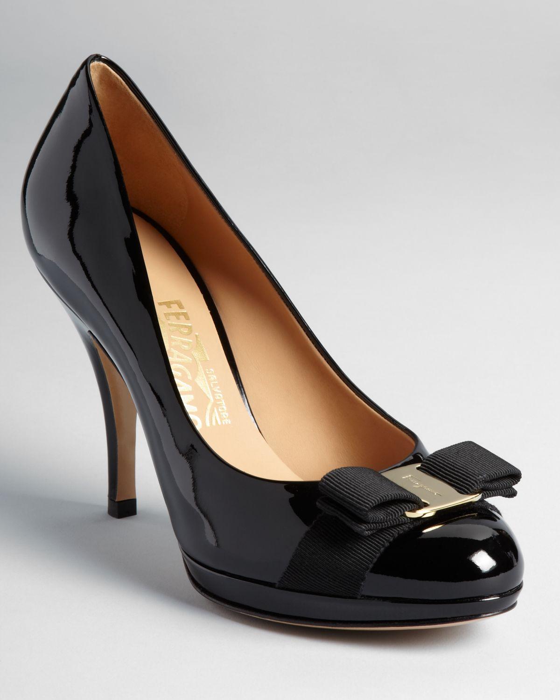 0b745c9162bb4 Lyst - Ferragamo Pumps Tina Bow High Heel Platform in Black