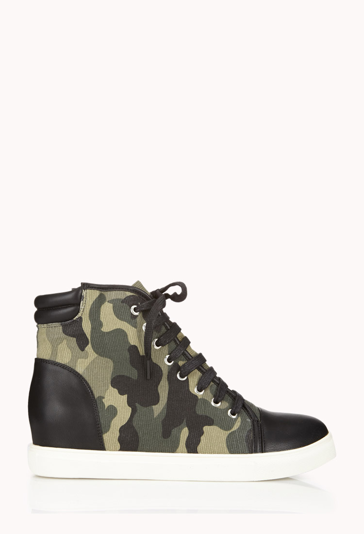 Lyst Forever 21 Camo Wedge Sneakers In Green