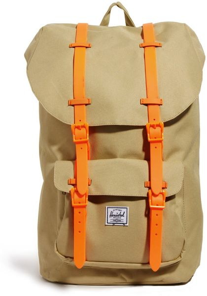 herschel supply co little america backpack exclusive to asos in beige for men khakineonorange. Black Bedroom Furniture Sets. Home Design Ideas