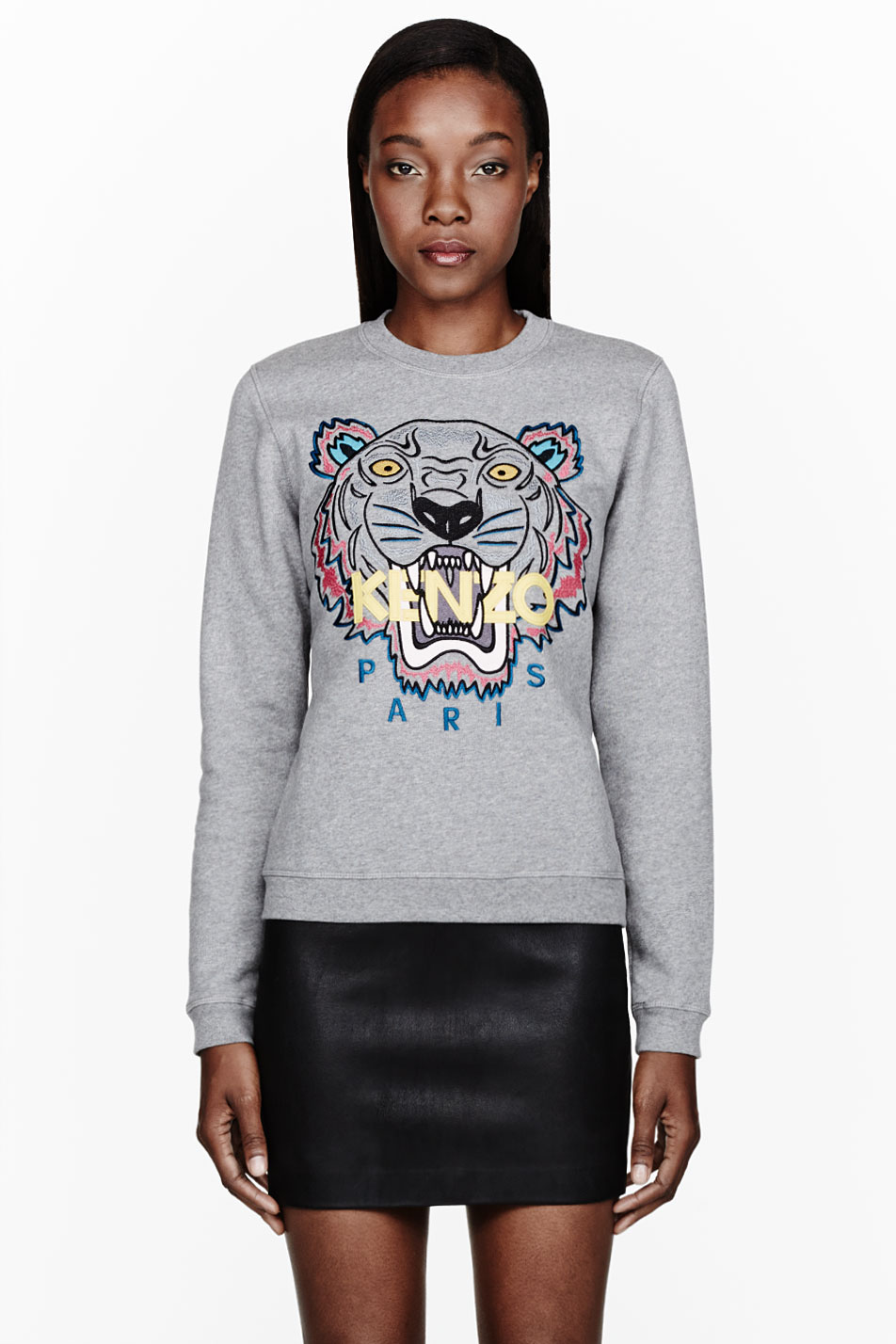 Lyst - KENZO Heather Grey Tiger embroidered Sweatshirt in Gray 382e6464b