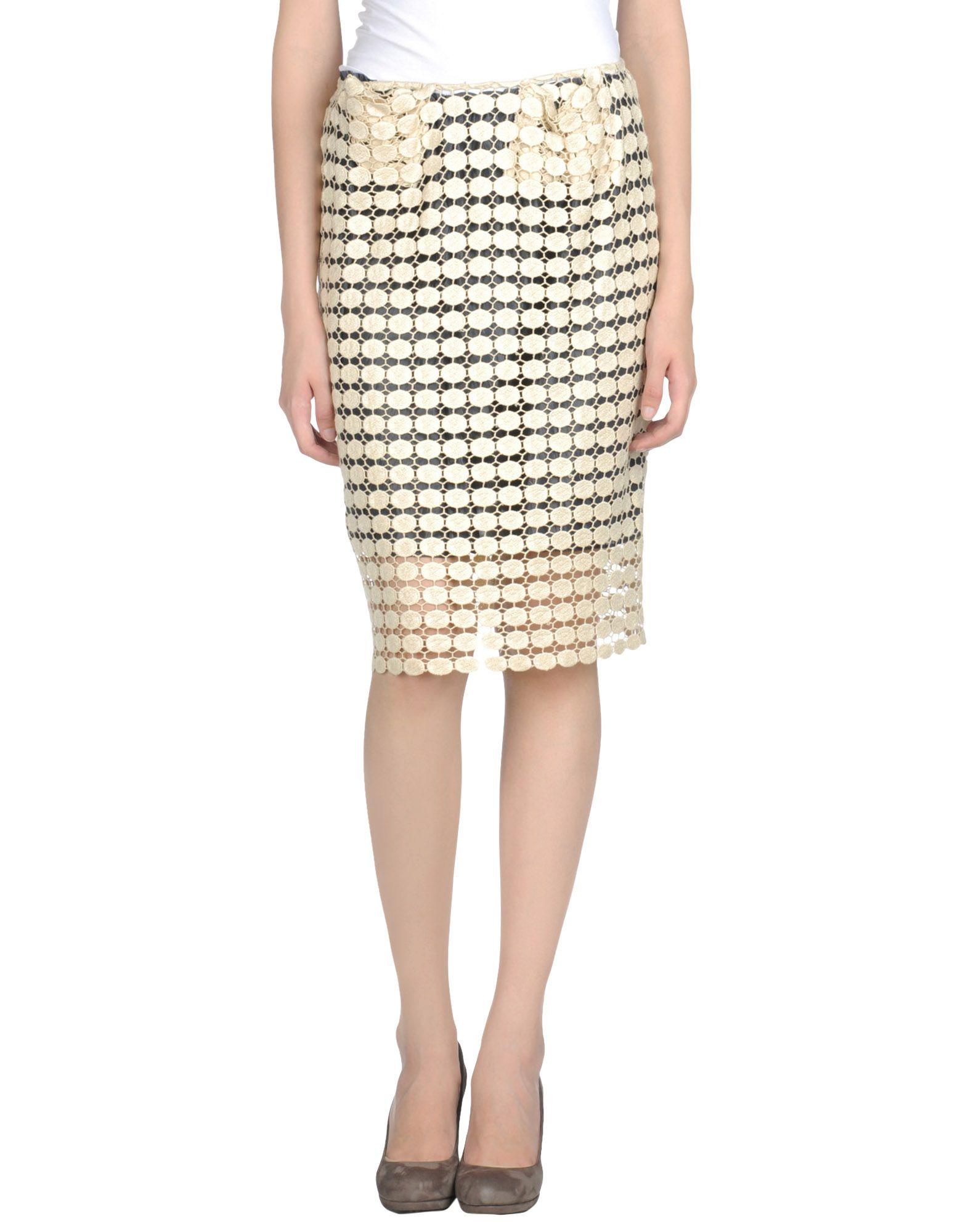 marni knee length skirt in beige lyst