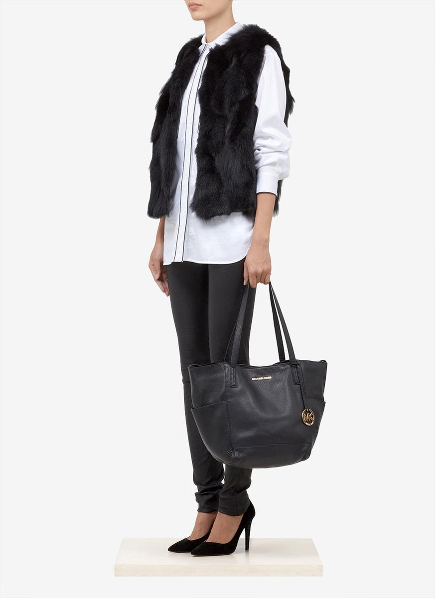 5d42c776f171 Michael Kors Ashbury Soft Leather Shoulder Bag in Black - Lyst