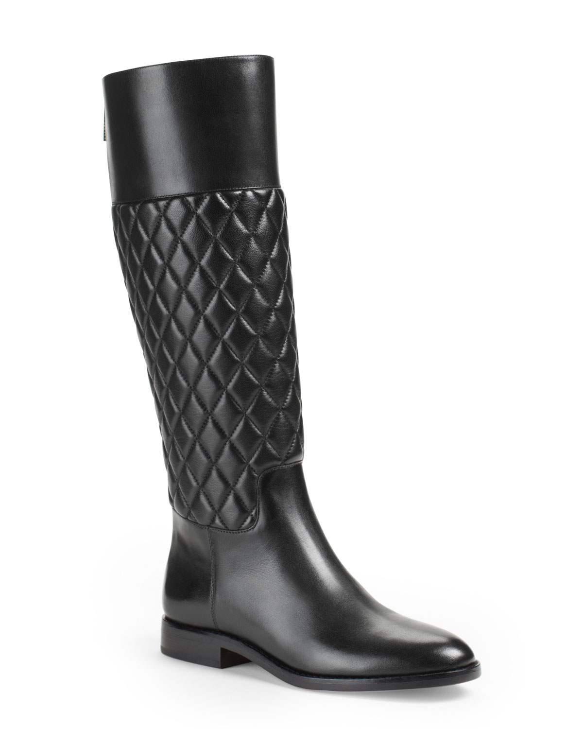 michael kors mina quilted leather knee boot in black lyst. Black Bedroom Furniture Sets. Home Design Ideas