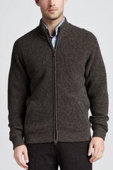 Peter Millar Cashmere Zip Cardigan Timber - Lyst
