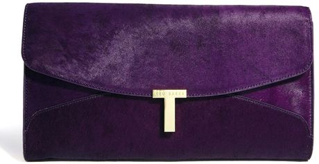 Ted Baker Jamun Deep Purple Leather Keeper Clutch Bag In