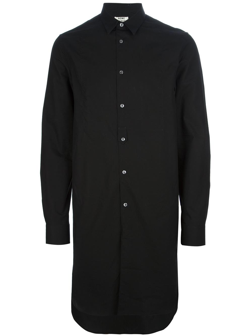 Acne Studios Jay Extra Long Shirt In Black For Men Lyst