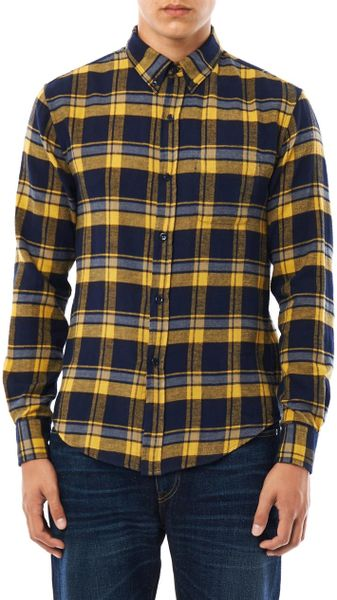 Band Of Outsiders Check Flannel Shirt in Yellow for Men | Lyst