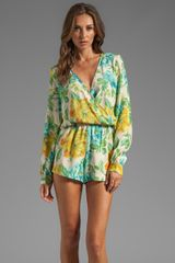 Blu Moon Boho Romper in Green - Lyst