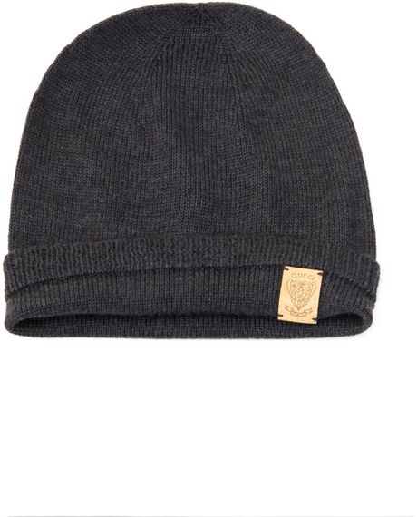 Gucci Hats For Men: Gucci Wool Knitted Beanie Hat In Gray For Men (charcoal