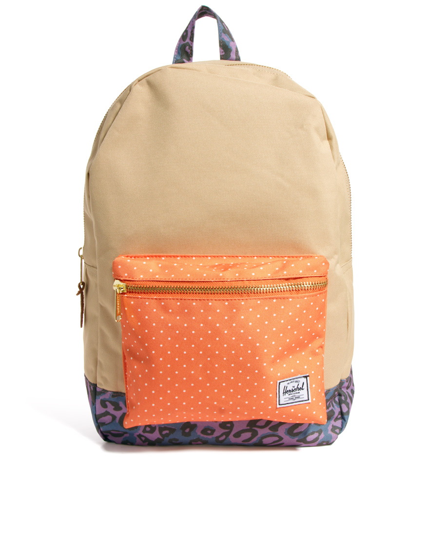 herschel supply co settlement backpack in beige khakiorangepolkad lyst. Black Bedroom Furniture Sets. Home Design Ideas