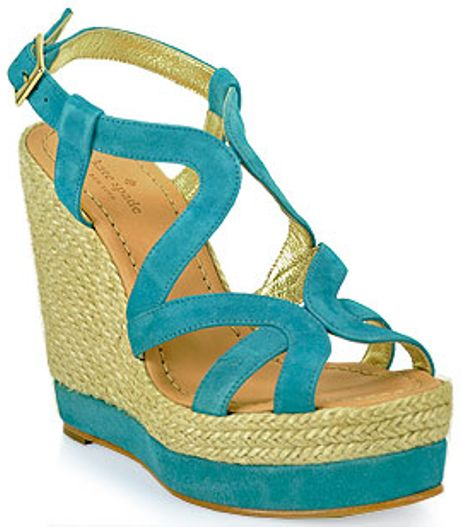 Kate Spade Platform Wedge Sandal In Blue Turquoise Lyst