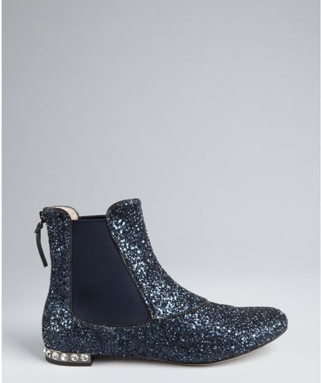 miu miu navy glitter leather and detail flat ankle