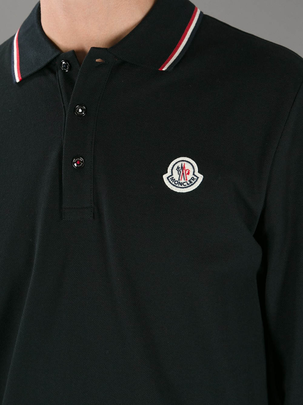 14ce3d15e852 Lyst - Moncler Long Sleeve Polo Shirt in Black for Men