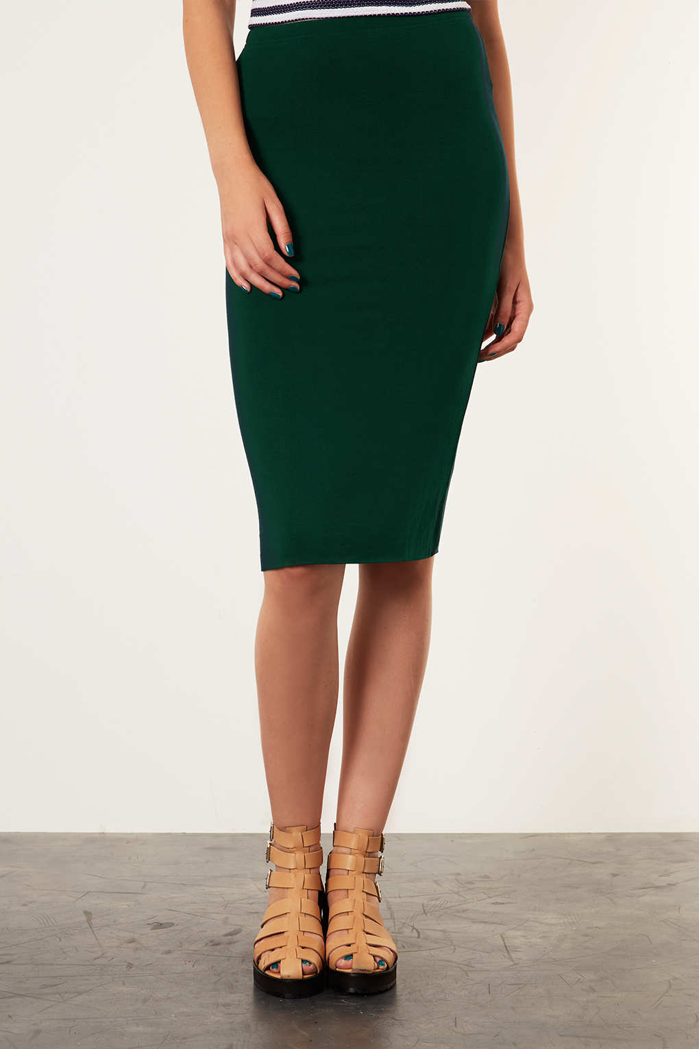 lyst - topshop dark green double layer tube skirt in green
