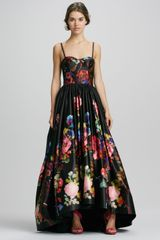 Alice + Olivia Alice Olivia Addie Floralprint Highlow Gown - Lyst