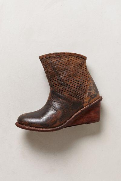 bed stu perforated wedge booties in brown lyst