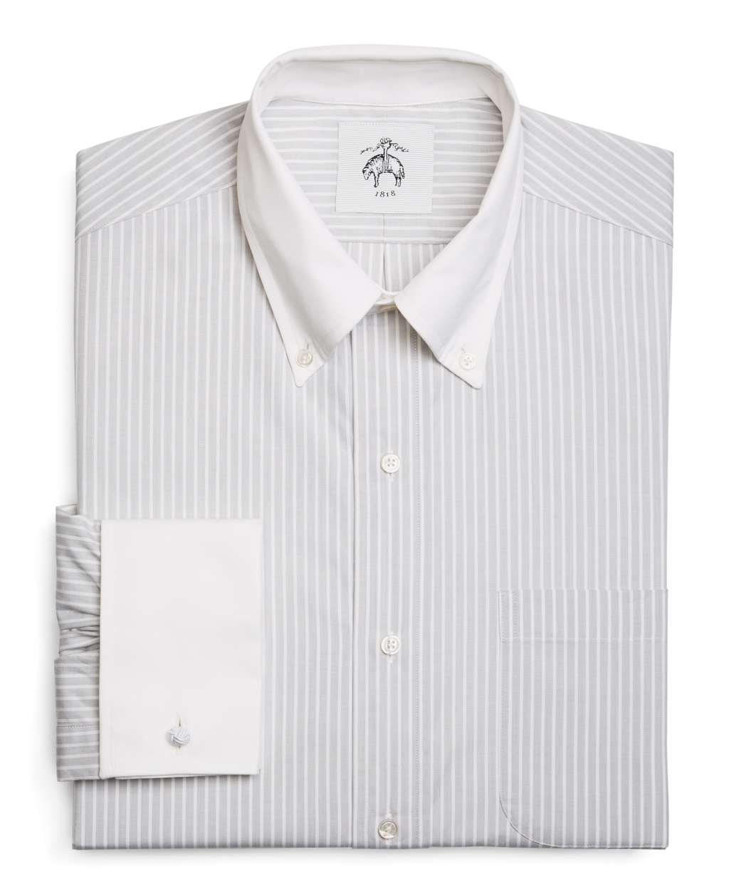 Brooks Brothers Wide Stripe French Cuff Shirt In White For