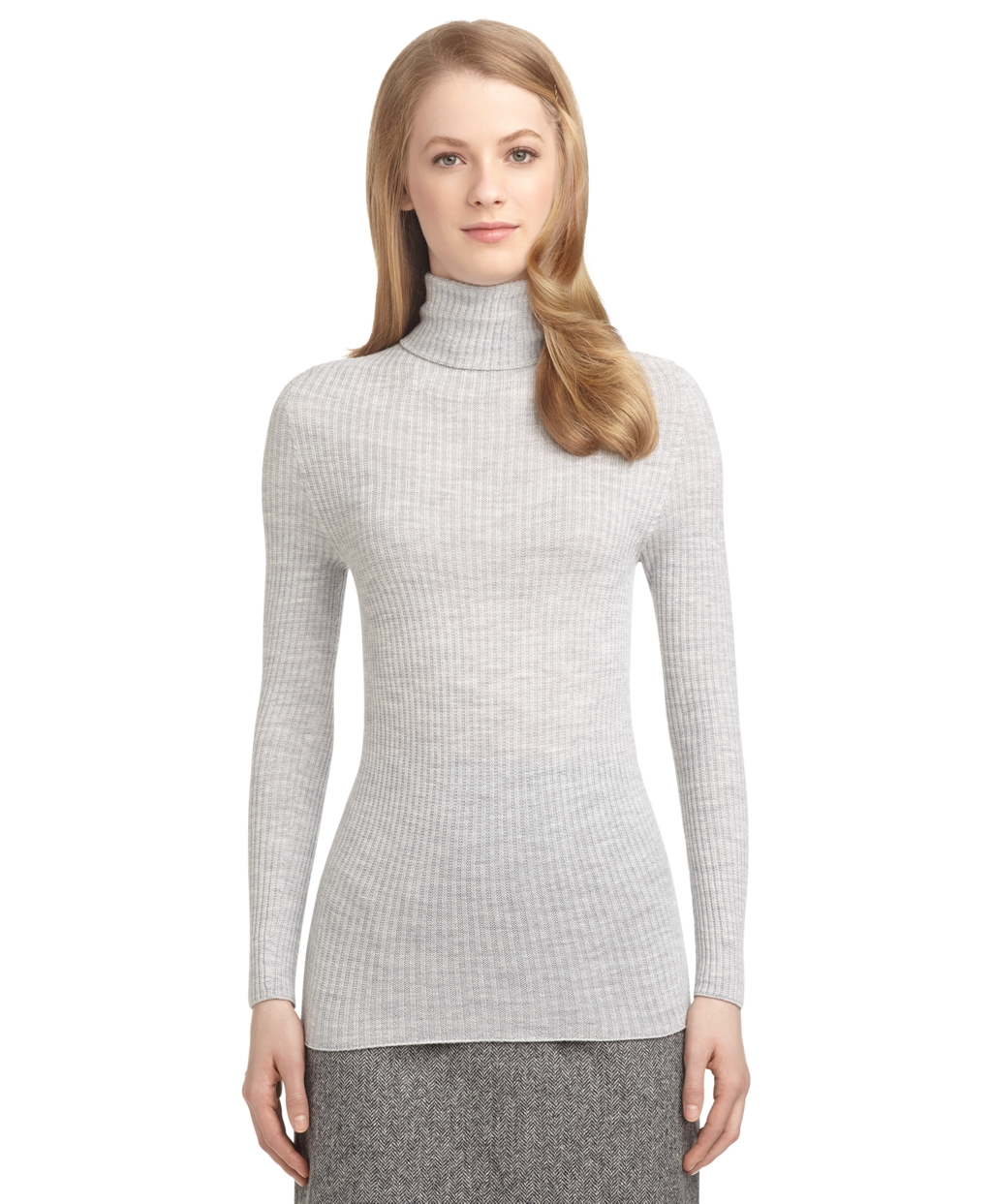 Brooks brothers Ribbed Turtleneck Sweater in Gray | Lyst