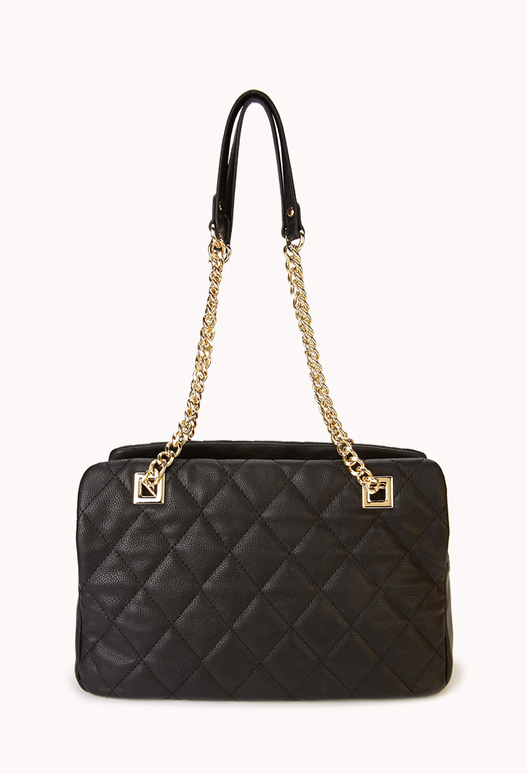 Forever 21 Quilted Double Strap Shoulder Bag in Black