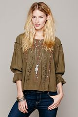 Free People Fp New Romantics Peasant Embroidered Blouse - Lyst