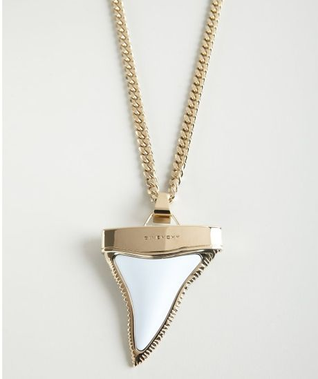 givenchy gold and white oversized shark tooth necklace in