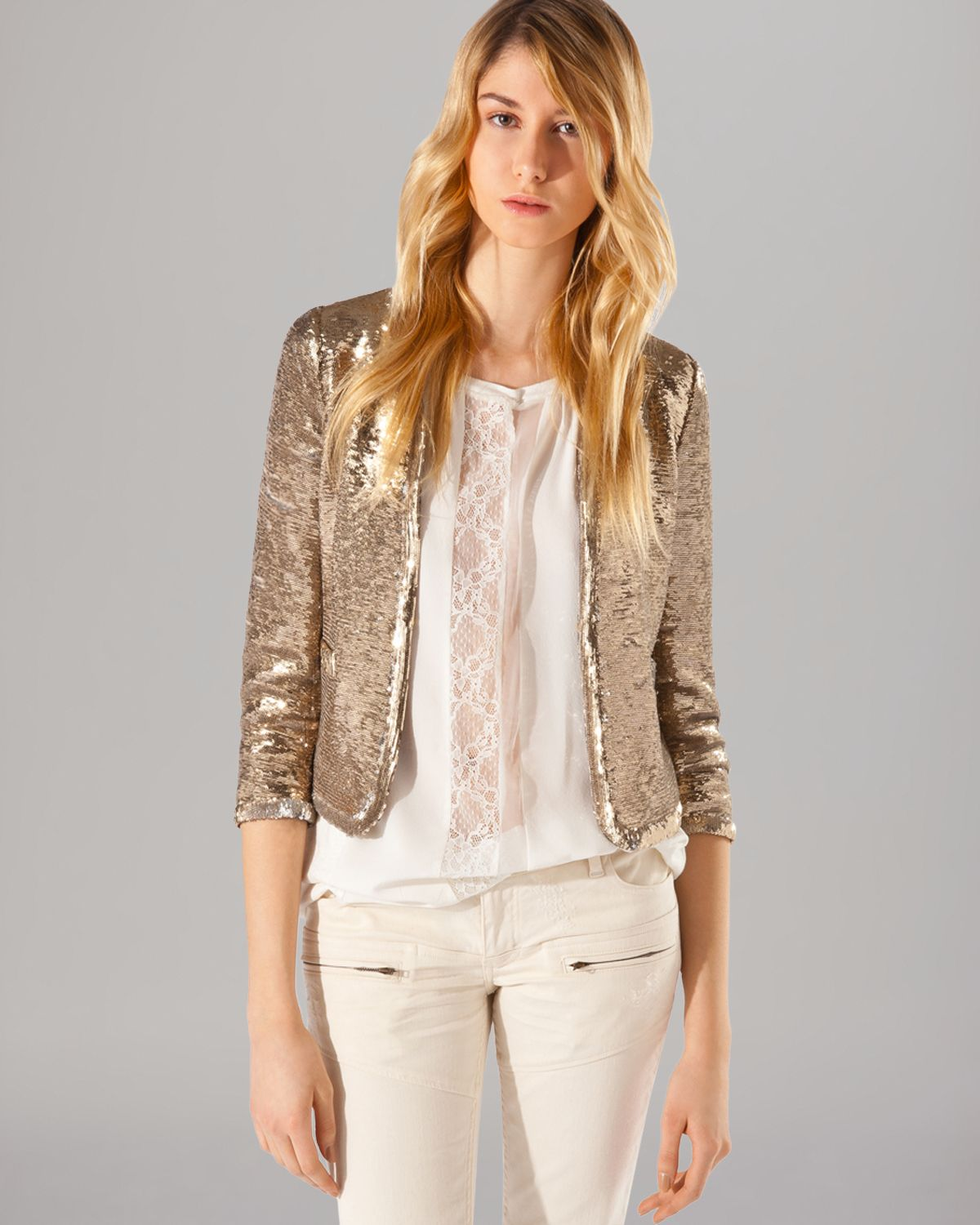 Maje Blazer Sequin in Gold
