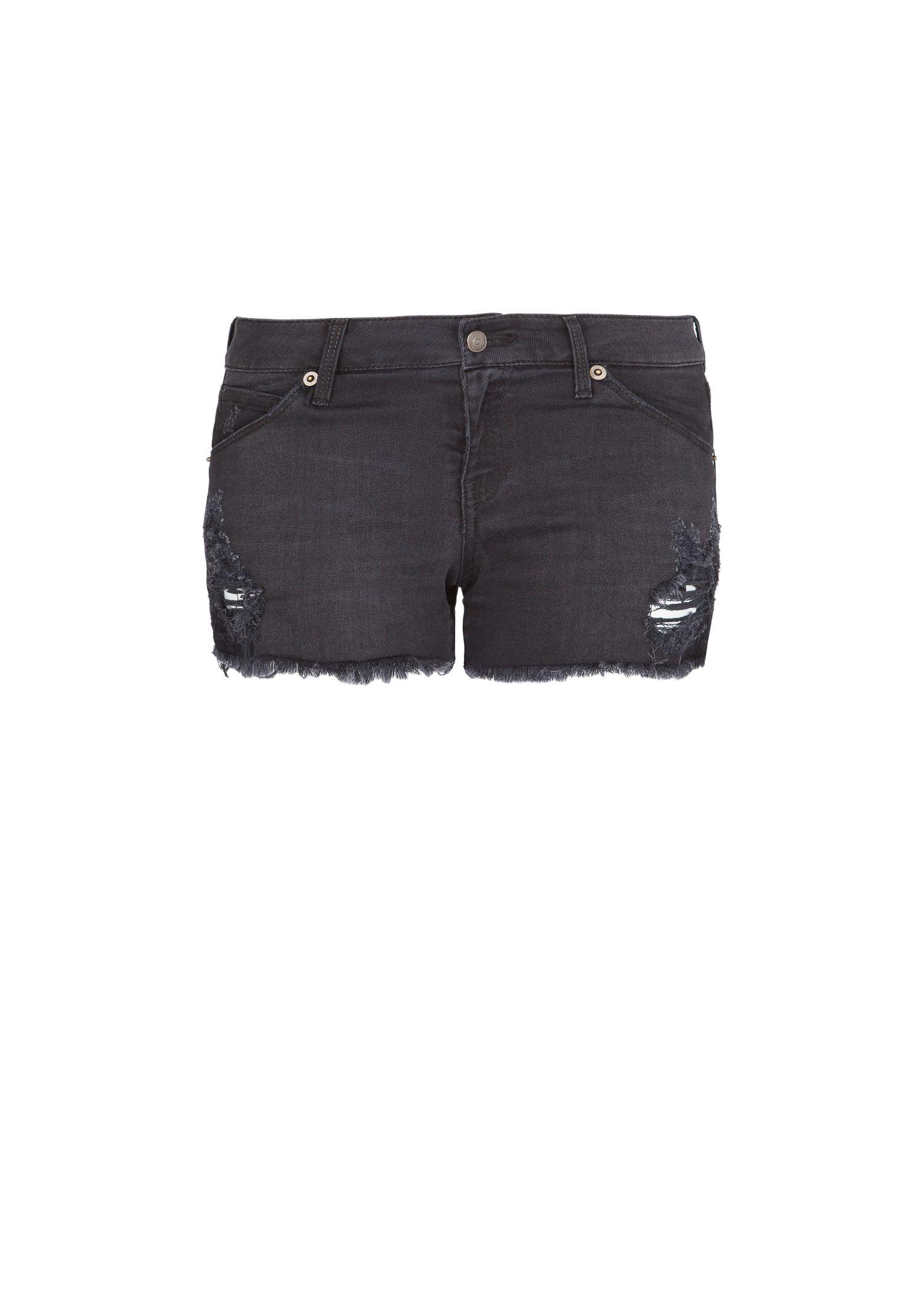 Mango Ripped Black Denim Shorts in Black | Lyst