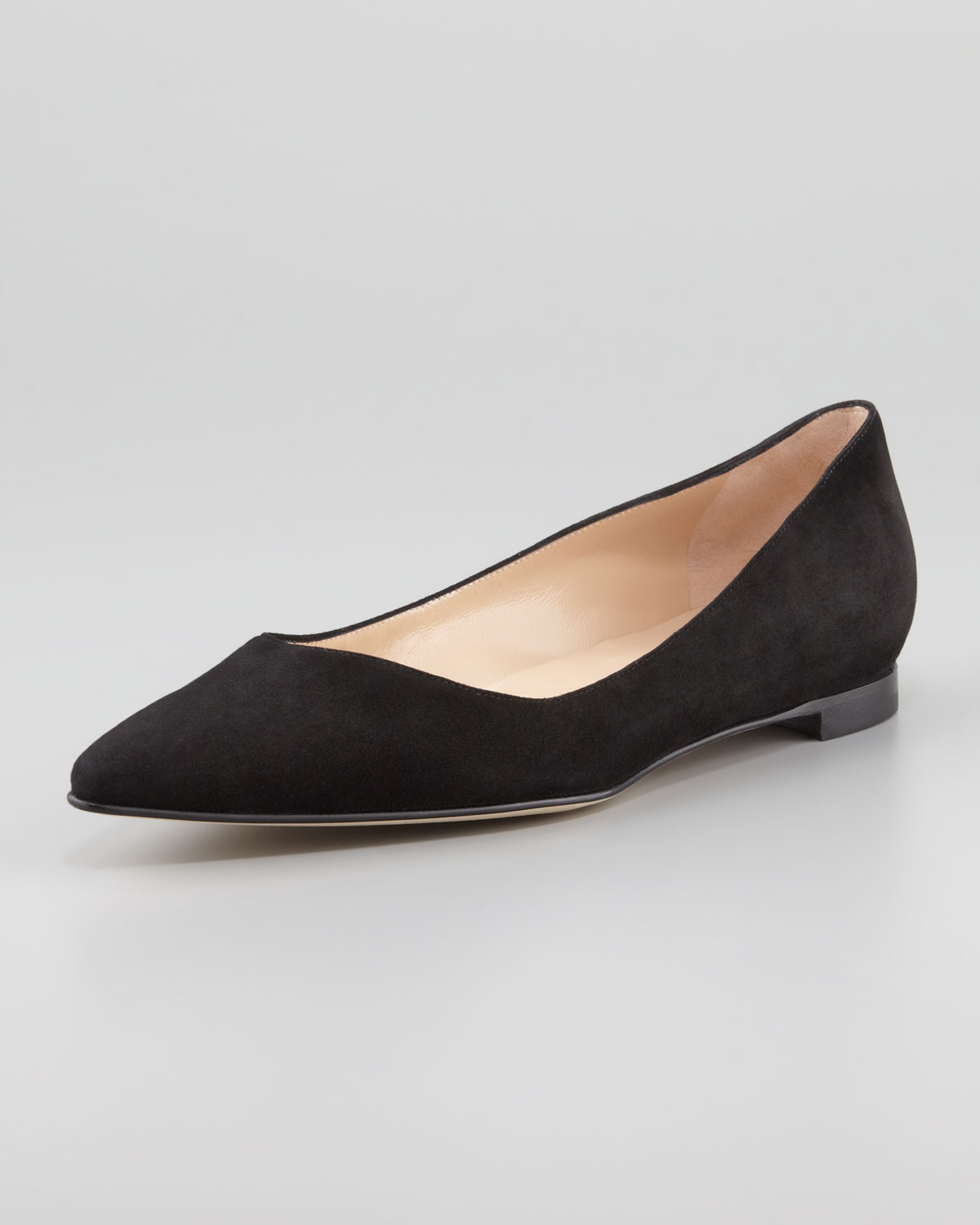 7dd053731eeb ... coupon for lyst manolo blahnik bb suede pointedtoe flat black in black  a232c 45b07