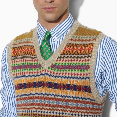 Lyst - Polo ralph lauren Fair Isle Sweater Vest in Brown for Men
