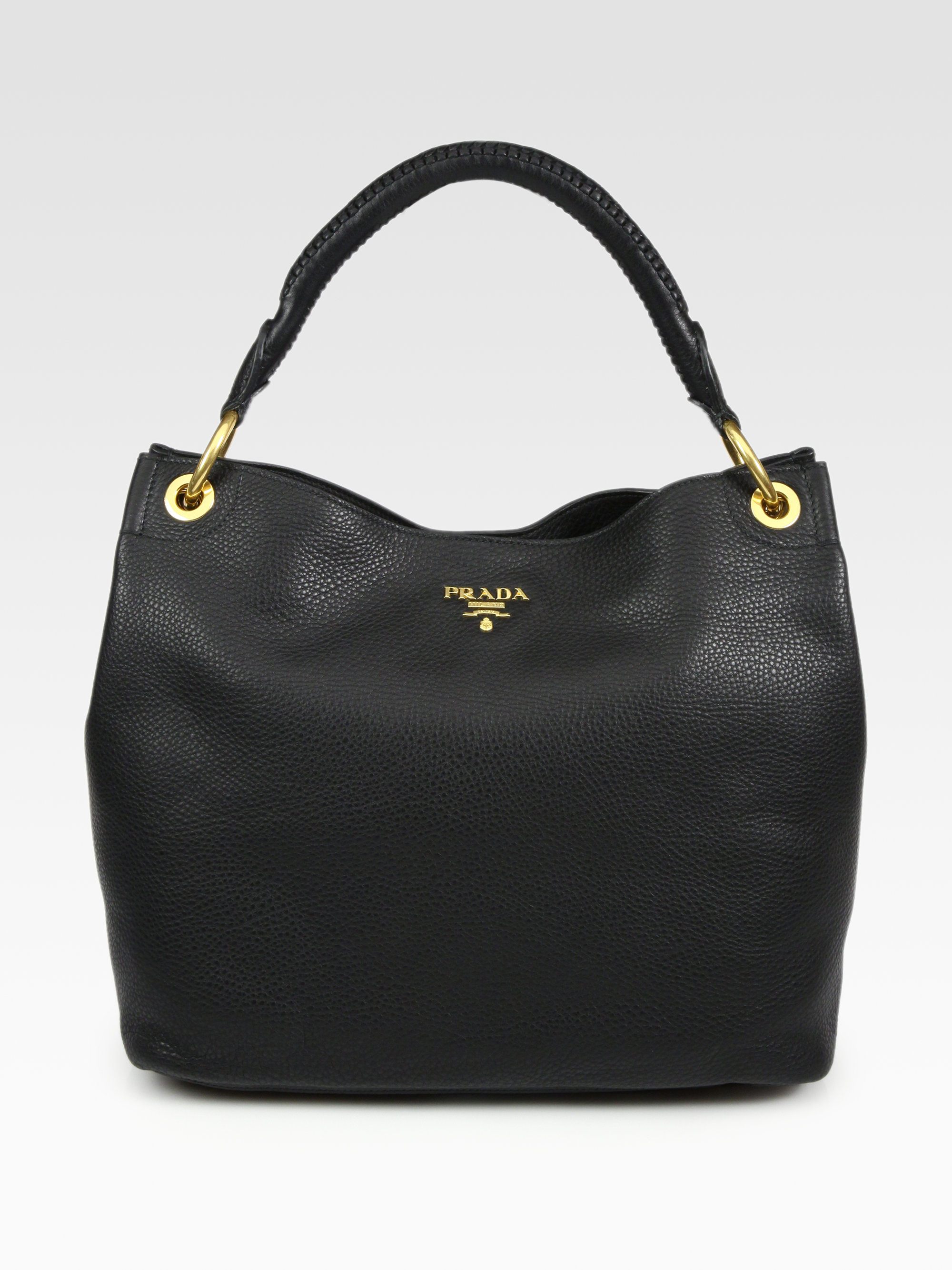 2ad7fe440dd0 Prada Vitello Daino Hobo Bag in Black - Lyst