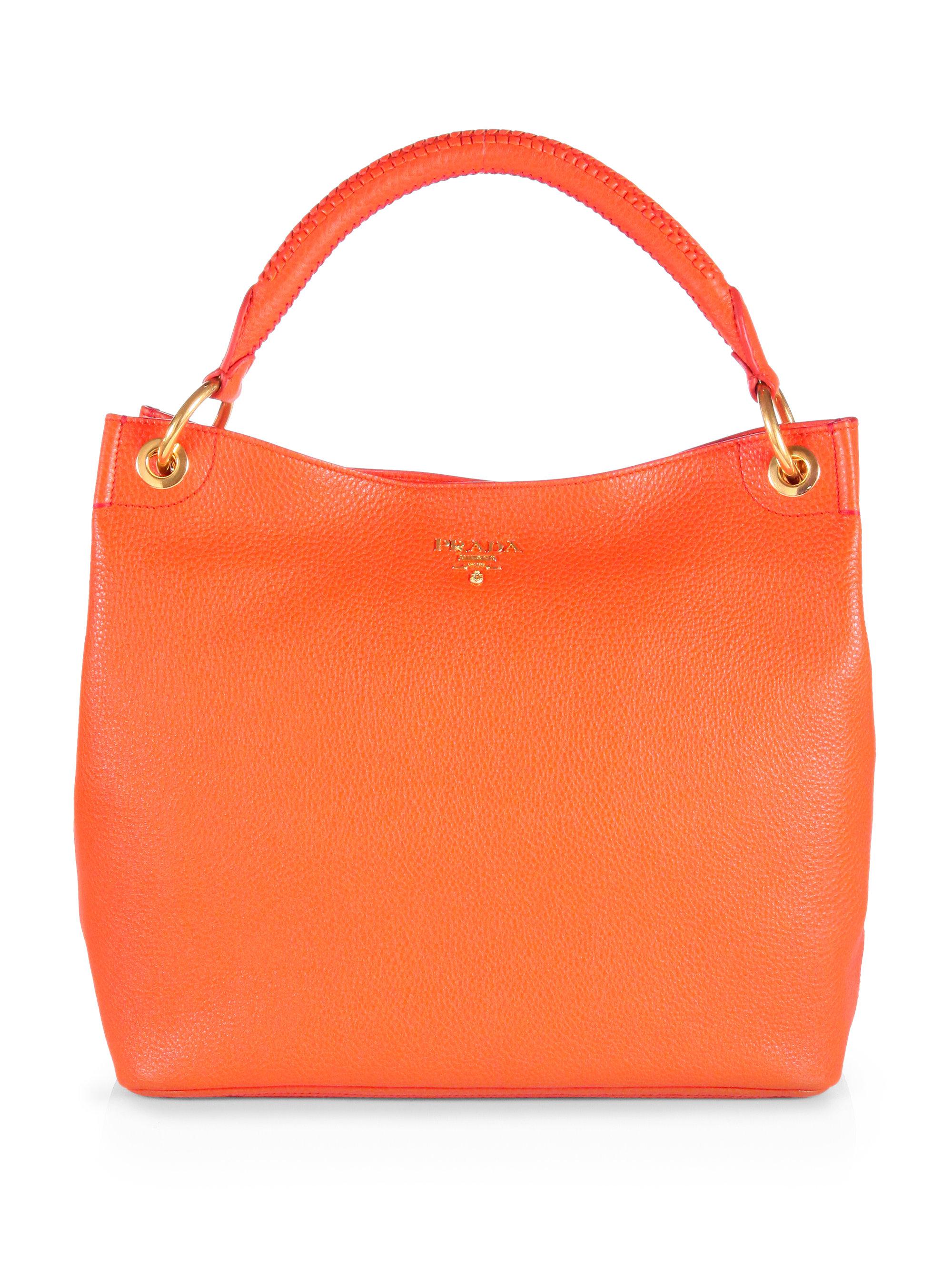 Prada Vitello Daino Hobo Bag in Orange | Lyst