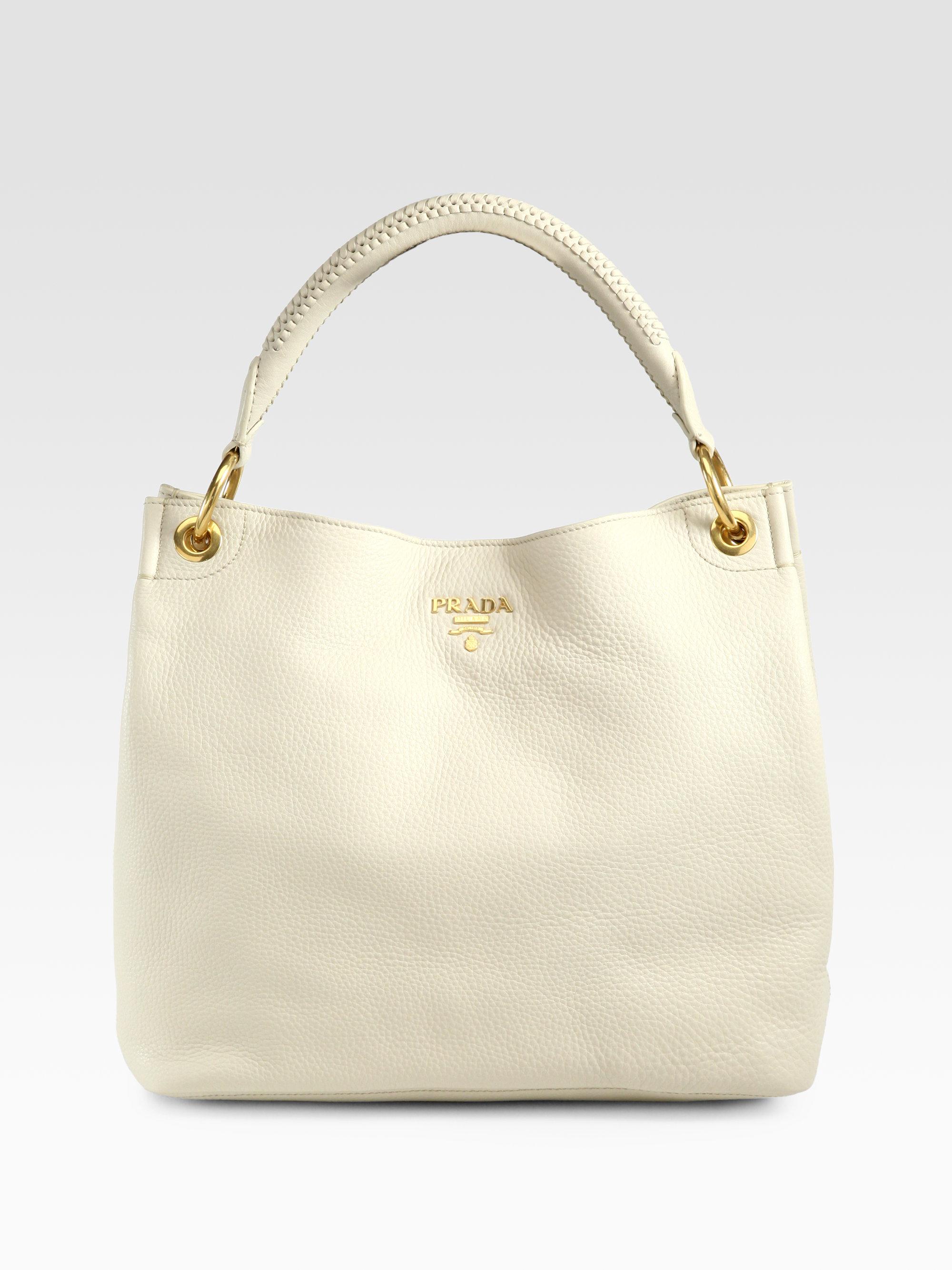 prada purse replica - Prada Vitello Daino Hobo Bag in Beige (TALCO-WHITE) | Lyst