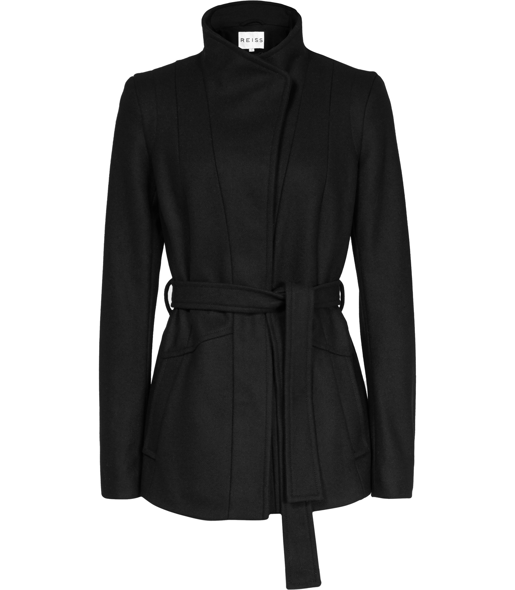 Reiss Chianti Pleat Back Belted Jacket in Black | Lyst