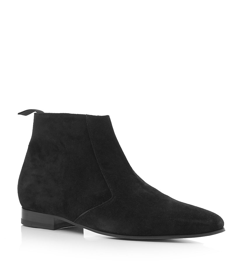 Saint Laurent Suede Chelsea Boot In Black For Men Lyst
