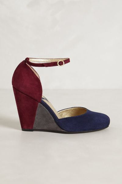 seychelles colorblocked suede wedges in blue wine lyst