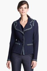 St. John Collection Tweed Trim Bouclé Knit Jacket - Lyst