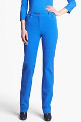 St. John Yellow Label Marie Straight Leg Twill Pants in Blue (Regal Blue) - Lyst