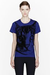 Stella McCartney Royal Blue Velvet Cat Appliqu T-shirt - Lyst