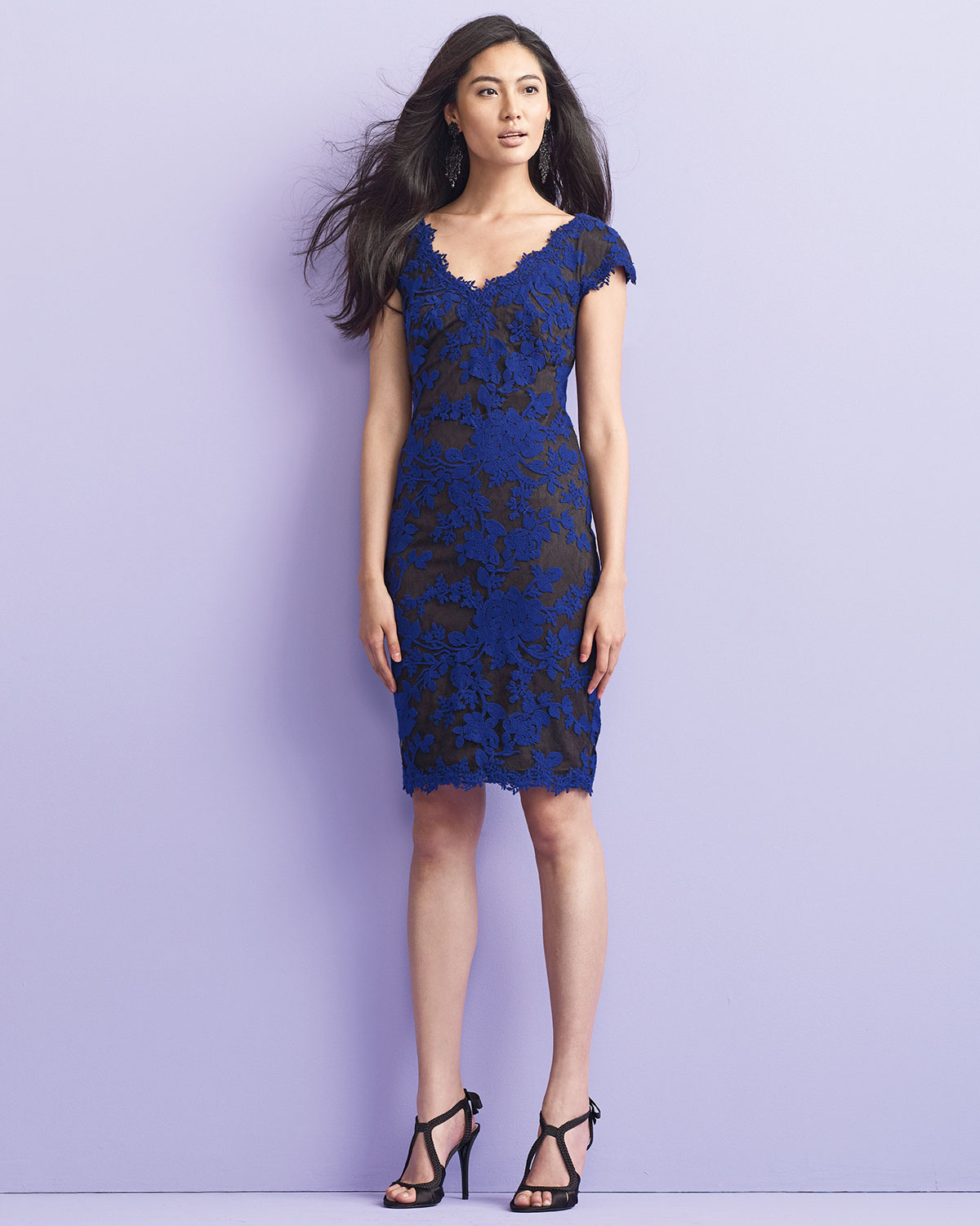 Lyst tadashi shoji embroidered lace cocktail dress in blue