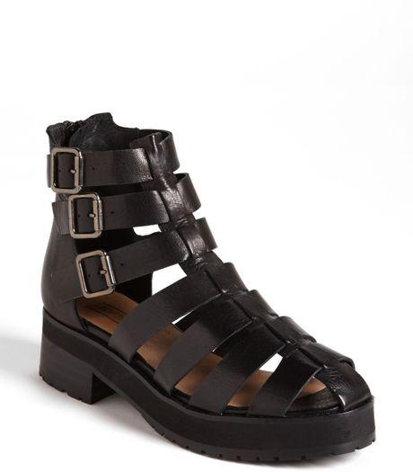 Topshop Aladin Gladiator Strap Boot In Black Lyst