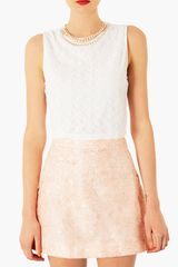 Topshop Embellished Neck Crop Top - Lyst