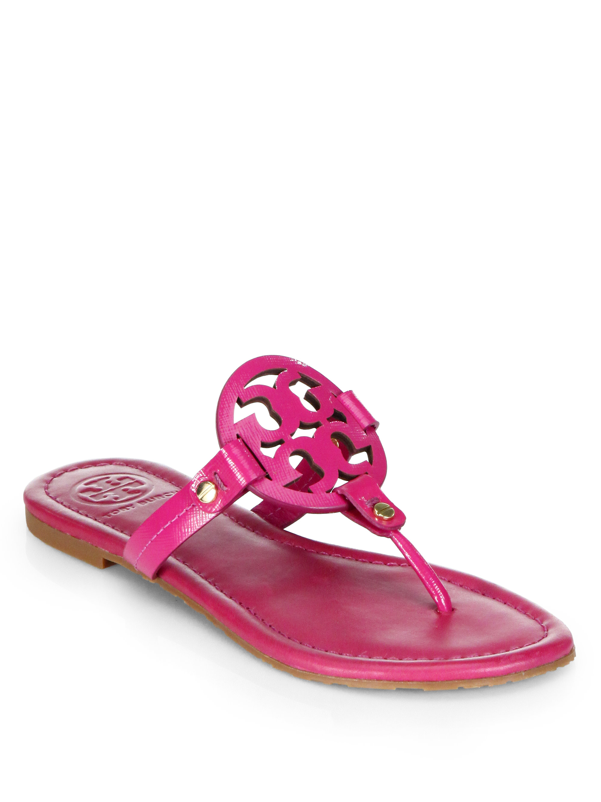 04c76918f551 Lyst - Tory Burch Miller Patent Leather Thong Sandals in Pink